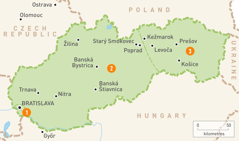Slovakiet Regioner Kort Kort Over Slovakiet Regioner Ost Europa